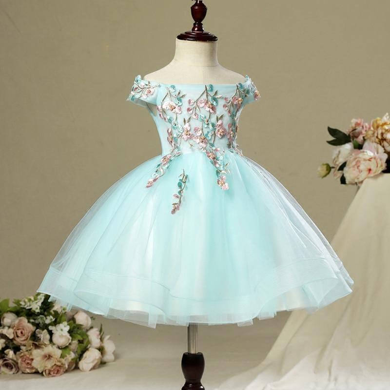 Embroidery Kids Summer Dress Flower Princess Ball Gown Girls Holy Communion Dress Party Kids Pageant For Wedding Girls Dress A15