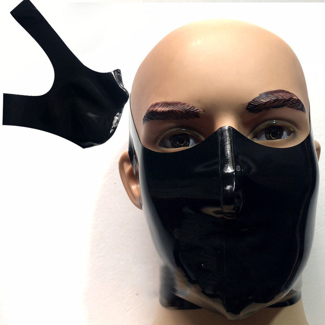 Latex Mask Cosplay Latex Rubber Gummi Cross Mouth covering Mask customized catsuit cool 0.4mm