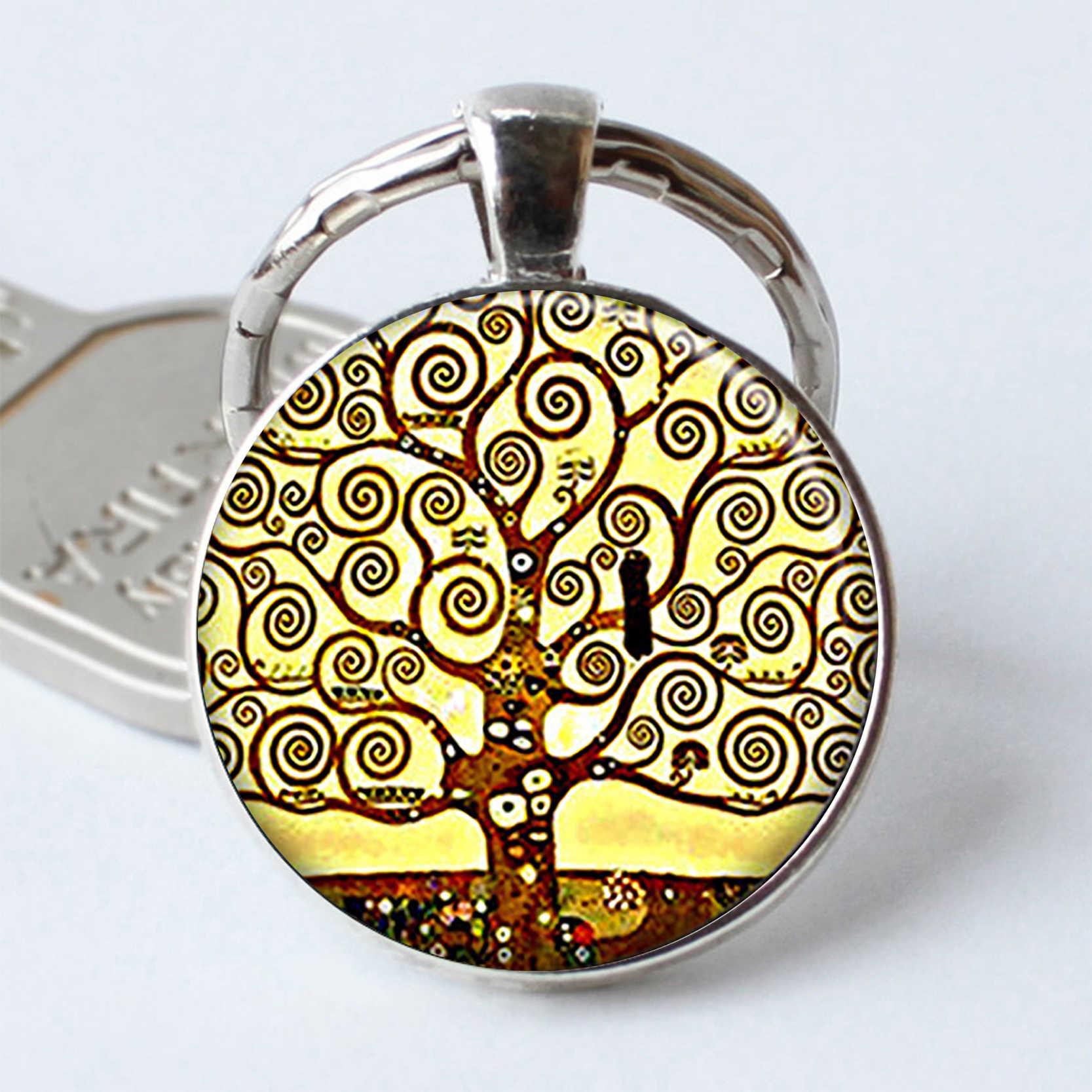 Árvore de Corações Chaveiro Árvore Árvore de Corações Keyring Presente Romântico Dos Namorados Presente do Anel Chave de Cadeia Jóia Da Resina Cabochon vidro
