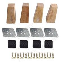 البلوط الخشب 120x58x38 مللي متر خزانة أثاث خشبي الساق الزاوية اليمنى شبه منحرف قدم رافع استبدال ل أريكة الجدول طقم سرير من 4
