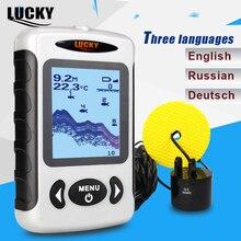 Lucky fish finder 3 idioma russo inglês menu alemão 100m profundidade portátil com fio sonar sonar sonar sonar sonar alarme ff718