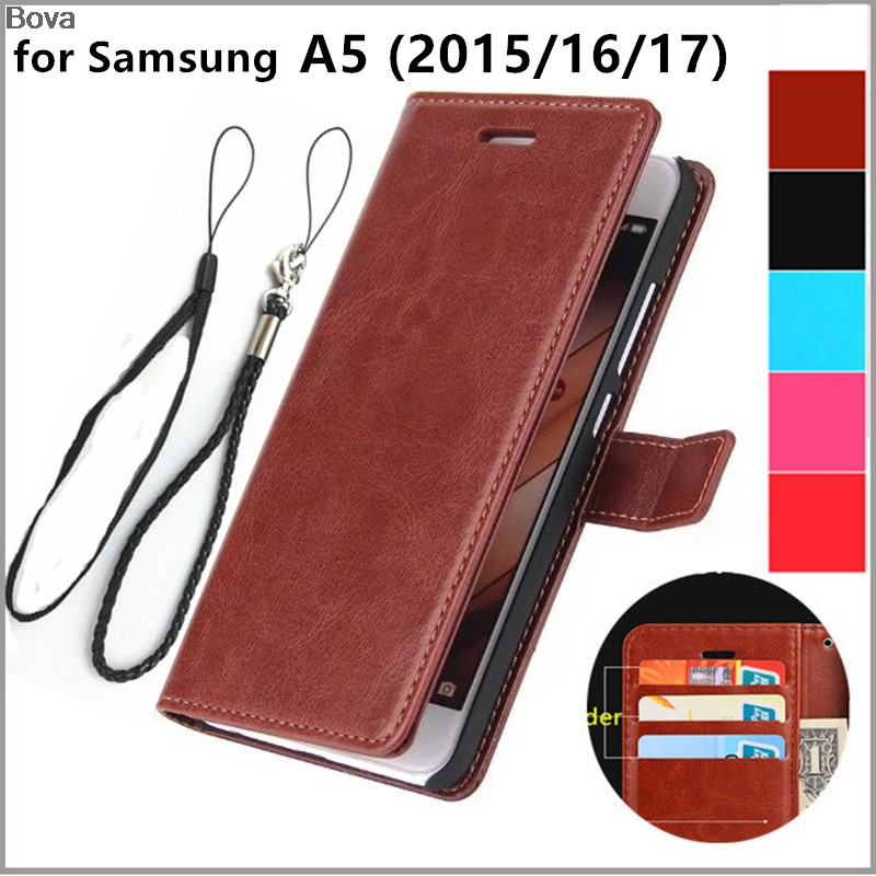 Pemegang kartu kasus penutup untuk Samsung Galaxy A5 2015 A5000 2016 A510F 2017 A520F Pu kulit telepon kasus ultra tipis dompet flip penutup