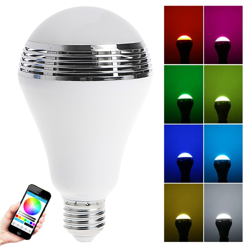 E27 App Control LED RGB Light Music Bulb Bluetooth Audio Speaker Changing Color smart bulb wireless bluetooth audio speakers e27 led rgb light music bulb lamp color changing app control