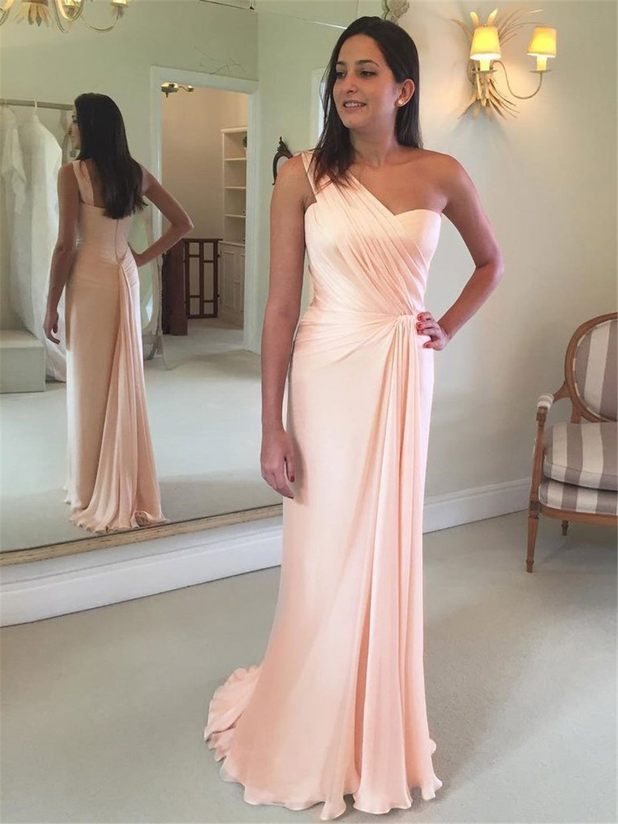 Elegant Blush Pink One Shoulder Long   Bridesmaid     Dresses   2019 Pleat Chiffon Floor Length Formal Occasion   Dress   Cheap Party Gowns