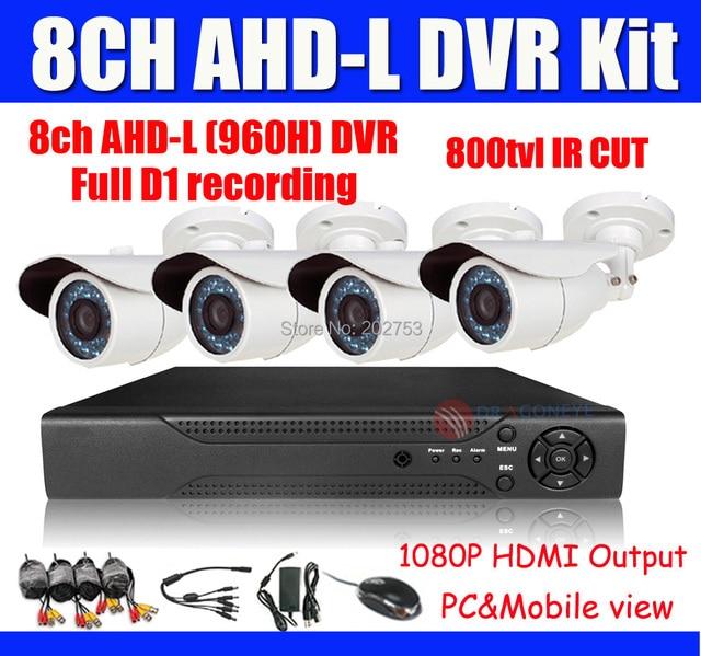 800TVL 8ch CCTV System DVR Kit Security Camera System 8ch AHD-L (960h) Full D1 DVR 800TVL IR Bullet Outdoor Cameras IR Cut