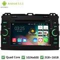 "Quad core Android 5.1.1 2Din 7 ""HD 1024*600 Dvd-плеер Автомобиля Радио Стерео Аудио Экран Для Toyota Land Cruiser Prado 120 2002-2009"