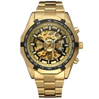 2017 Winner Luxury Sport Designer Gold Skeleton Mechanical Watch Men Alloy Male Clock Wristwatches Relogio Masculino