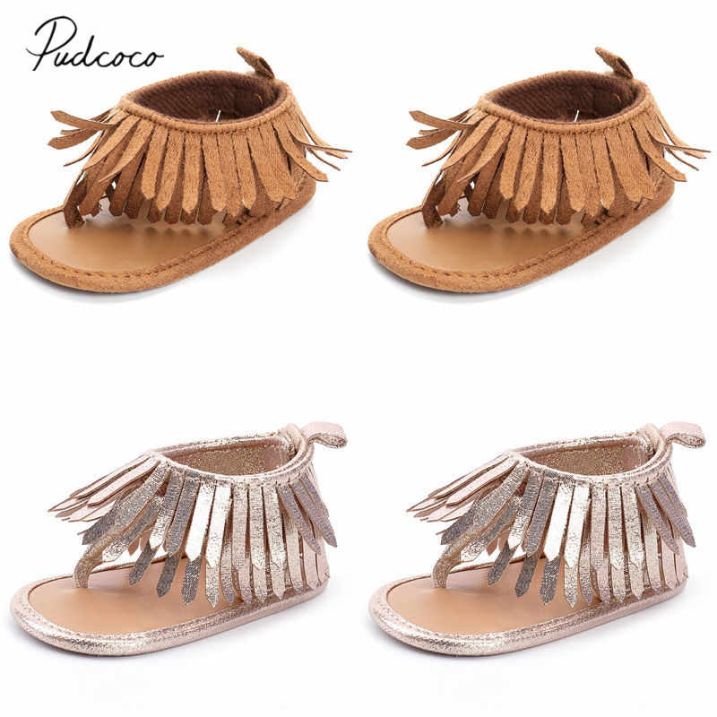 2019 Baby Summer Shoes Newborn Infant Fashion Baby Boys Girls Leather Sandals Solid Fringe Shoes Toddler Infants Sizes 0-12M