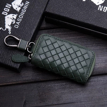 Covers Car-Key-Case Genuine-Leather Gifts Audi Toyota Volkswagen for Storage-Bag Weaving