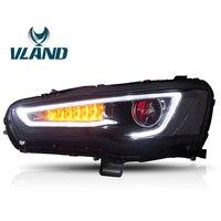 VLAND Автомобильная фара для Mitsubishi для Lancer Evolution 2008 2010 2012 2013 2015 2016 светодиодный головной свет Bi Xenon фары с объективом