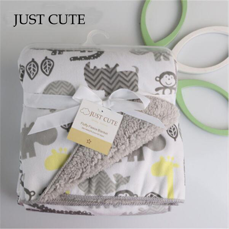JUST CUTE Baby Blanket Thicken Double Layer Fleece Infant Swaddle Bebe Envelope Stroller Wrap For Newborns Baby Bedding Blanket