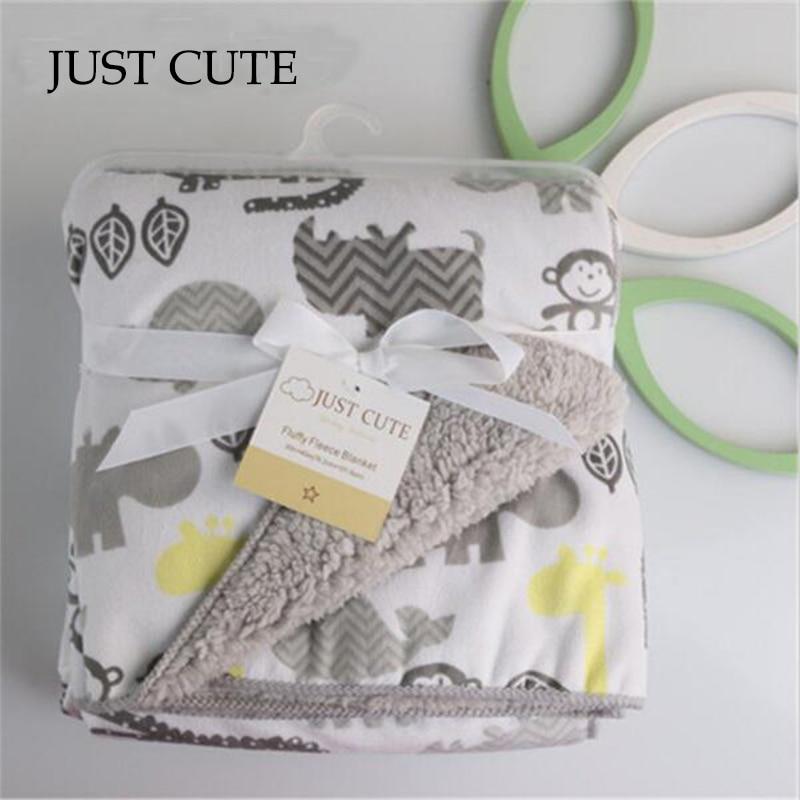 JUST CUTE Baby Blanket Thicken Double Layer Fleece Infant Swaddle Bebe Envelope Stroller Wrap For Newborns Baby Bedding Blanket