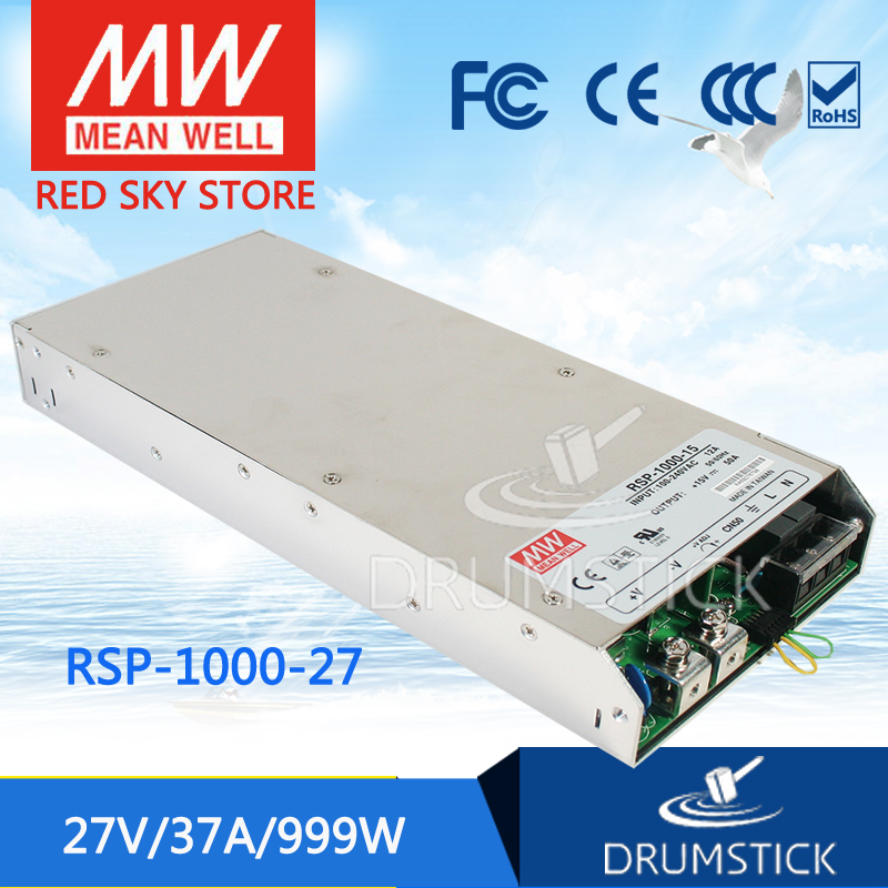 Selling Hot MEAN WELL RSP-1000-27 27V 37A meanwell RSP-1000 27V 999W Single Output Power Supply selling hot mean well rsp 150 27 27v 5 6a meanwell rsp 150 27v 151 2w single output with pfc function power supply