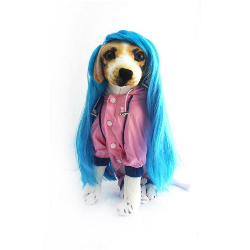 Новые длинные волнистые парик/Искусственные парики воротник Косплэй партии собака кошка длинные синие волосы платье Mascotas Cachorro Chien перро P15