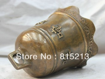 bi00252 Chinese Buddhism Pure Bronze Scripture Namo Amitabha Hang Bell Statue