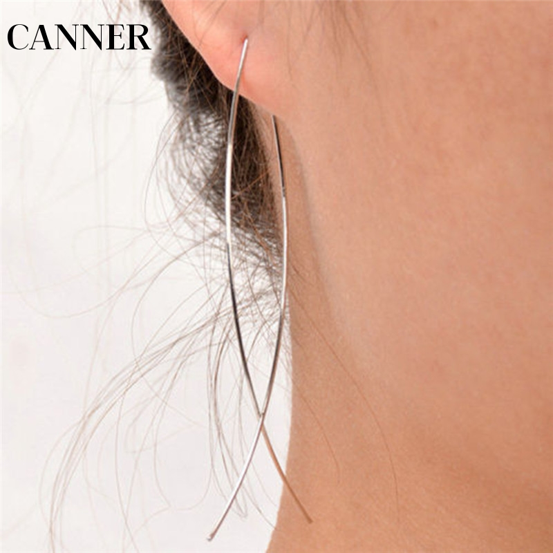 Canner Simple Drop Earrings For Women Fish Dangle Earrings Line Earring Statement Temperament Silver Fashion Jewelry R4 Pretty And Colorful