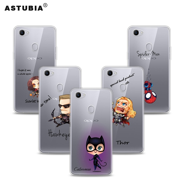 size 40 91803 ee0c7 US $3.22 |ASTUBIA For OPPO F7 Case For OPPO F5 Case Silicone Cute Soft TPU  Clear Spiderman Iron Man Cover For OPPO F7 Conque High quality-in Fitted ...