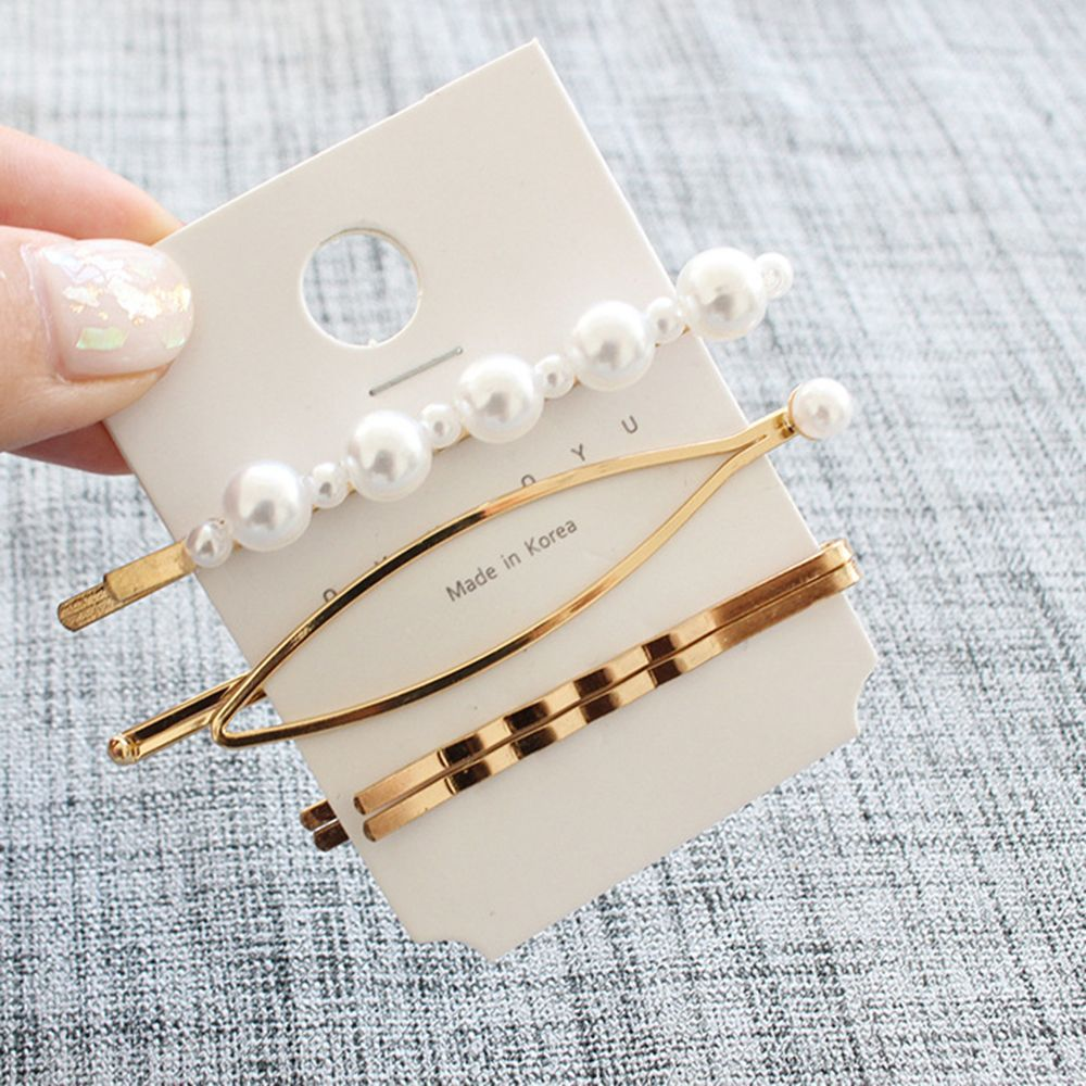 NEW 3Pcs/Set Pearl Metal Hair Clip Hairband Comb Bobby Pin Barrette Hairpin Headdress Accessories Beauty Styling Tools G0315
