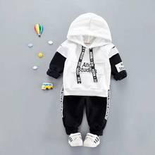 Baby Toddler Boy Casual Hooded Clothes Set For Spring Cartoon Letter Long Sleeve T shirt + Pants