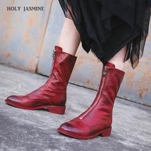 2018 Winter thick heel genuine leather round toe women martin boots fashion brand low-heeled ankle boots woman botas femininas стоимость