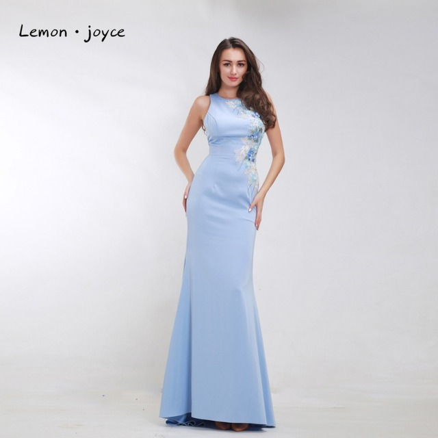 Aliexpress Buy Formal Sky Blue Evening Dresses For Women 2018
