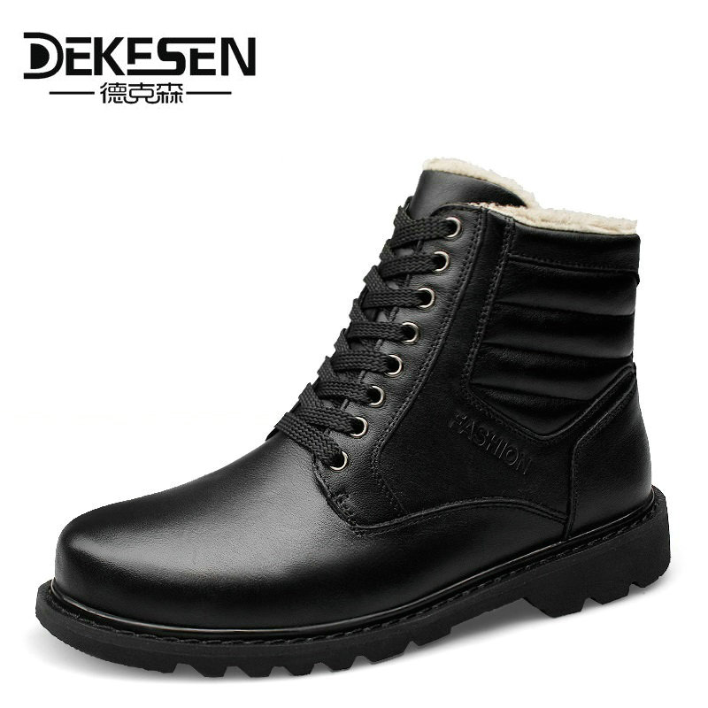 Здесь можно купить   DEKESEN 2016 Men Boots for Russian, First Layer Cow Leather Shoes Man, winter Snow Ankle boots, Safety boots Men Plus size 6-12 Обувь