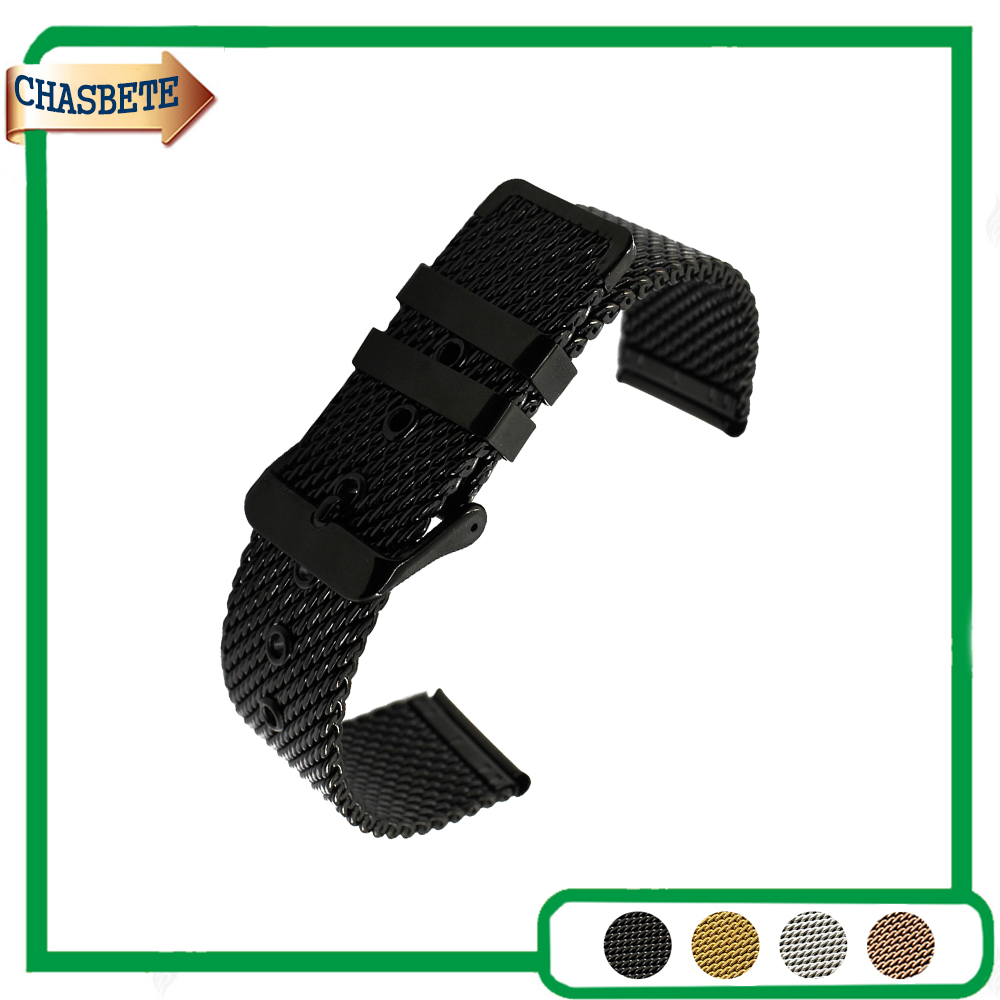 Mesh Stainless Steel Watch Band for Diesel 20mm 22mm 24mm Men Women Metal Strap Belt Wrist Loop Bracelet Black Silver + Pin silicone rubber watch band 20mm 22mm 24mm for jacques lemans stainless steel pin clasp strap wrist loop belt bracelet tool