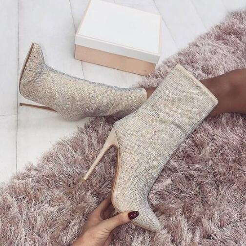 New Arrivals Mid Calf Boots for Women Pointed Toe Black Beige Crystal Embellished High Heel Boots Zipper Shoes Winter Woman winter female woman round high engraving heel mid high rhinestone crystal buckle black real leather boots pointed toe shoe 1118