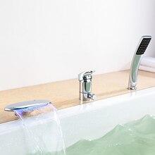 Chrome Finish LED Kolor Zmiana Wanna Kran Pojedynczy Uchwyt Baterią Termostatyczną z prysznicem Recznym