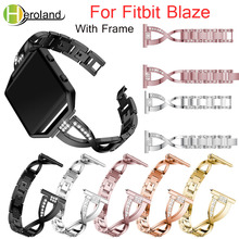 Stainless Steel Watch Band For Fitbit Blaze smart replacement watchband Wrist Strap For Fitbit Blaze bracelet With Rhinestone genuine leather watch band for fitbit blaze replacement band meatal frame house wrsit band for fitbit blaze smart watch strap