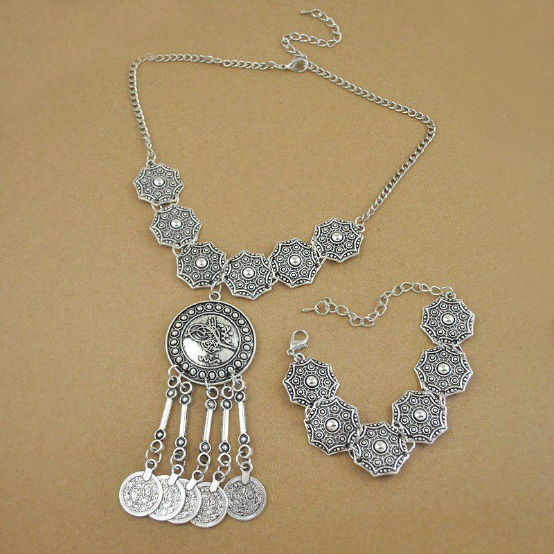 Boho Jewelry Tribal Jewelry Set Antique Silver Coins Choker Necklace Bracelet Set Bohemian Ethnic Jewelry Lots 10 Sets