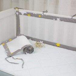 2Pcs/Set Breathable Summer Baby Bedding Bumper Collision Half Around baby bumper crib set Cotton Printing Mesh Safety Rails