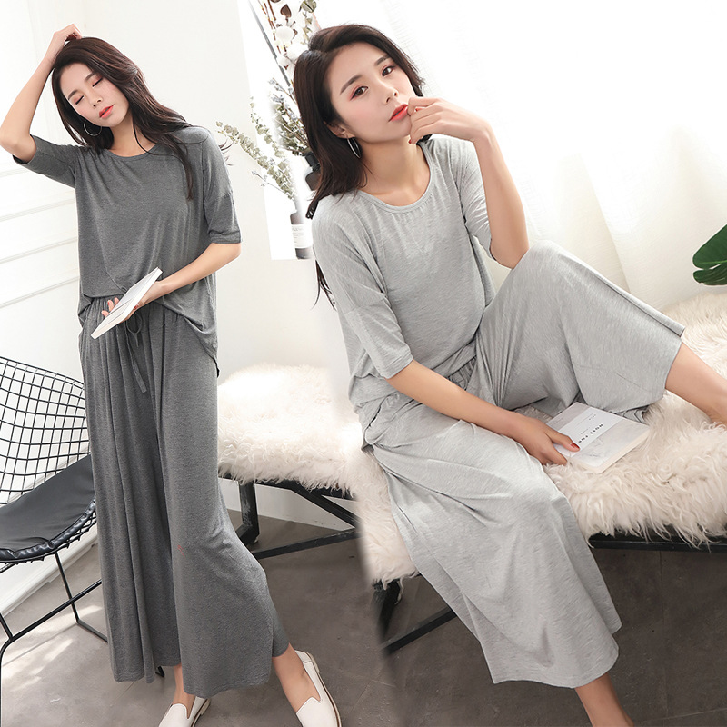 Two Piece Set Women Spring Home Wear Sets Casual Cotton 2 Piece Set Women 2018 Loose T Shirt + Nine Wide Leg Pants Sleepwear
