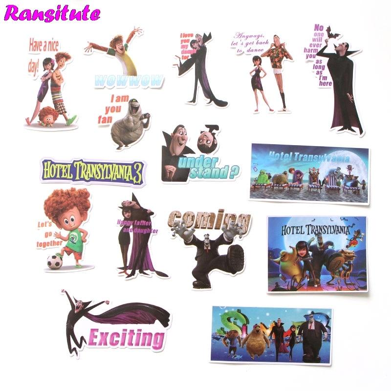 R282 15pcs/set Hotel Transylvania Anime Cartoon Stickers DIY Luggage Laptop Skateboard Car Motorcycle Bike Stickers