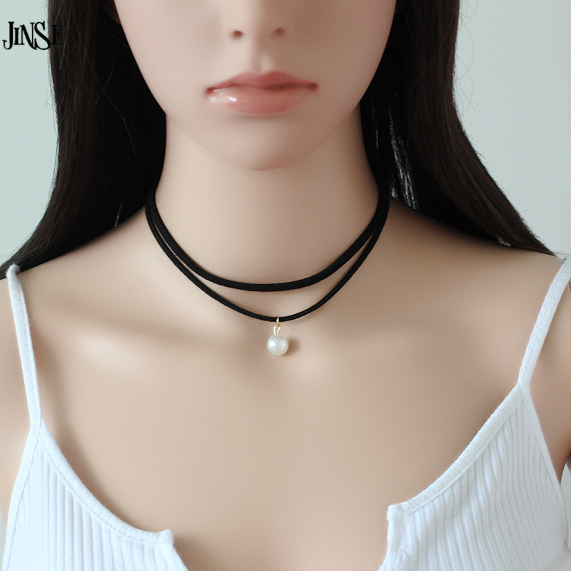 BLS205 Latest design pearl beads necklace velvet 2 layers black rope leather chokers