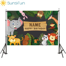 Sunsfun birthday backgrounds for photography studio Jungle party animals cartoon leaves forest kid backdrop printed photocall