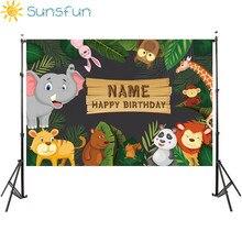 Sunsfun خلفيات عيد ميلاد للتصوير الفوتوغرافي استوديو الغابة حفلة الحيوانات الكرتون يترك الغابات طفل خلفية مطبوعة صور