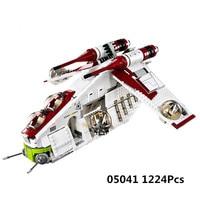 LEPIN Star Wars 05041 Blocks Legoing Star Wars 75021 Clone The Republic Gunship Set Toys Obiwang Amidala With Legoings Starwars