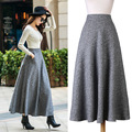 New Quality Winter Skirt 2016 Autumn Fashion Women's Long Woolen Skirts Big Buttom A-line Wool Skirts S - XXL