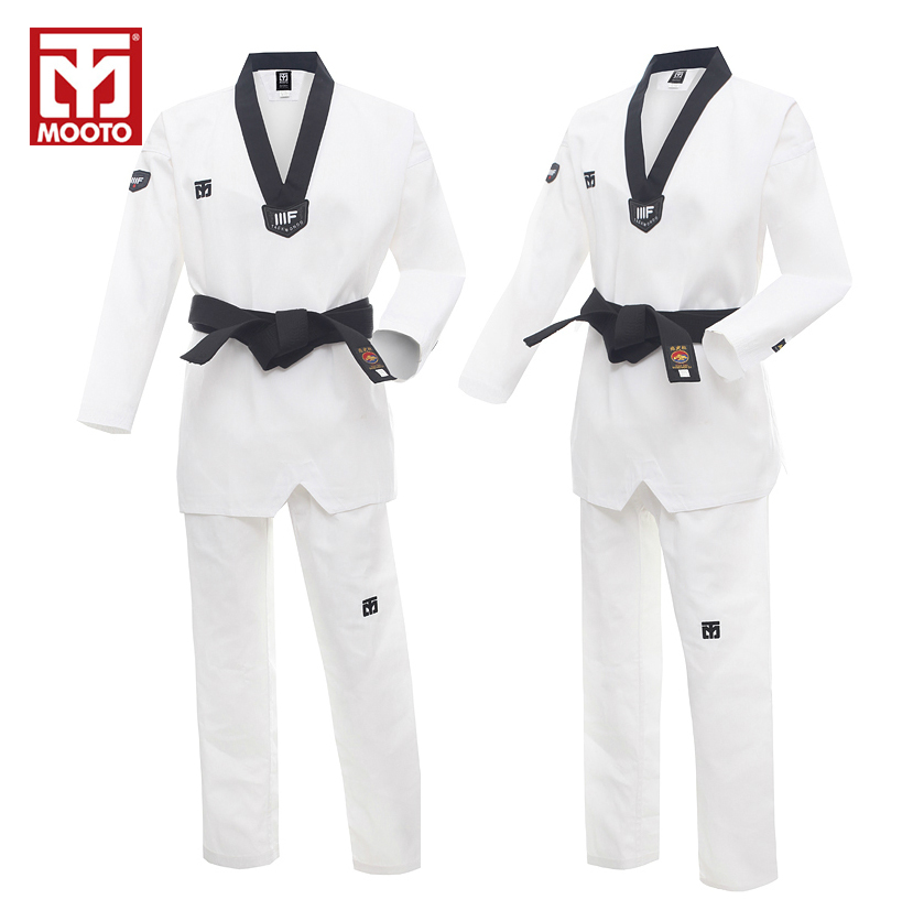 цена на 2016 New Adult Male Female child kids White Breathable cotton Mooto Taekwondo uniform WTF Approved Taekwondo dobok free shipping