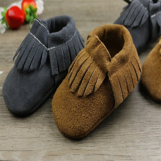2016 Fashion Baby Boy Girls Shoes Genuine Leather Toddler Baby Prewalker Shoes Fringe Slip-on Slip-anti Baby Brown tassels