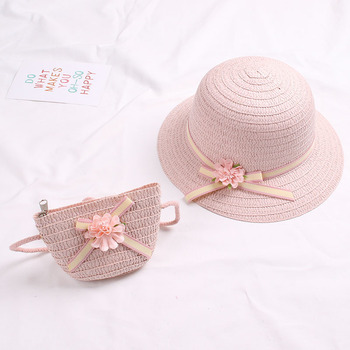 Cute Girls Straw Hat Sun Hat + Shoulder Bag Handbag 2pcs Sets for Summer Kid Princess Floral Beach Hats for Party Outdoor 4