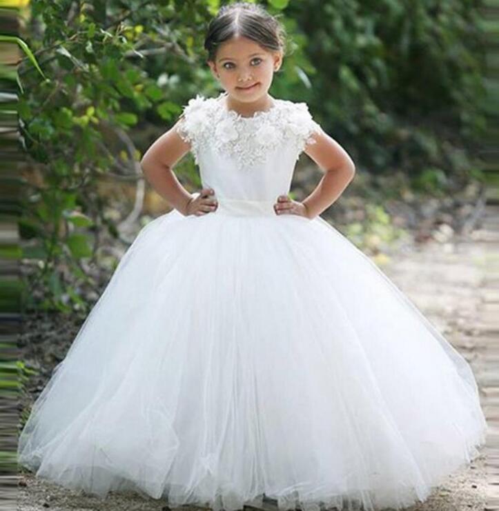 2017 White Ball Gown   Flower     Girl     Dresses   vestido longo Short Sleeves First Communion   Dresses   For   Girls   Appliques M1003