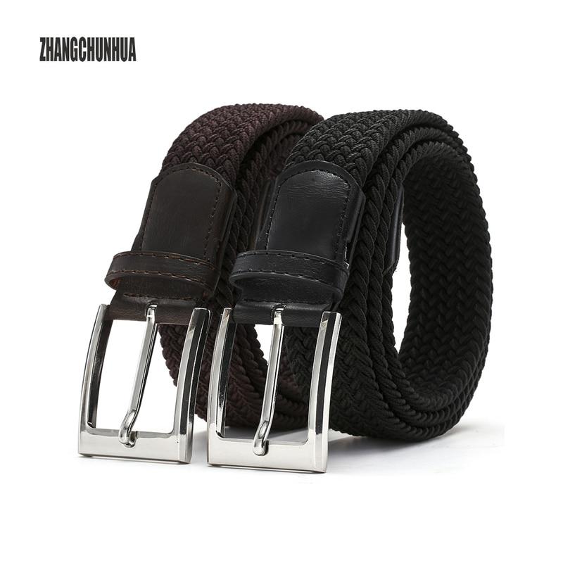 ZHANGCHUNHUA Mens elastic waistband ELASTIC BELTS for boys Stretch braided high quality man fashion 2018 black canvas BELT