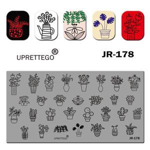 Image 4 - 2019 Paslanmaz Çelik tırnak yapıştırması Şablon İngilizce Cümle Geometri Bayan Vintage Çiçek Lineer Hayvan Tırnak Aracı JR171 180