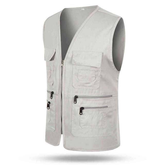 #1019 2017 Thin Vest with many pockets Slim Vest men Fashion Tactical vest Body engineers vest Multi pocket Sleeveless jacket
