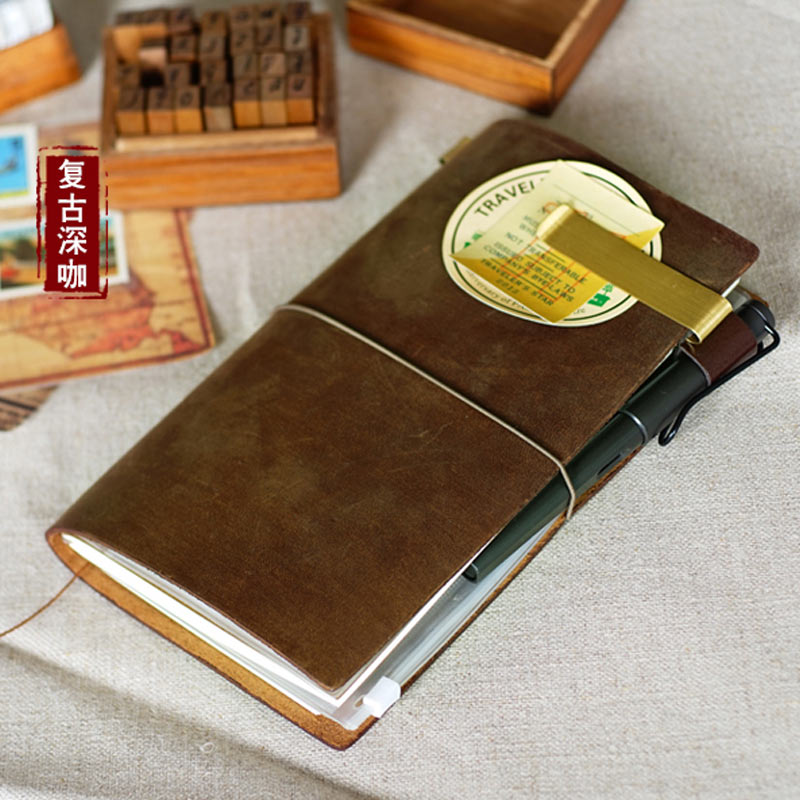 Hot Sale Duoga 100% Genuine Cow Leather Cover Traveler's Notebook Diary Journal Vintage Handmade Cute Travel Note Book Pocket