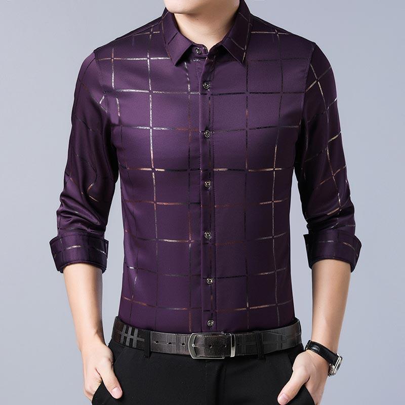2020 Brand Casual Spring Luxury Plaid Long Sleeve Slim Fit Men Shirt Streetwear Social Dress Shirts Mens Fashions Jersey 2309 9