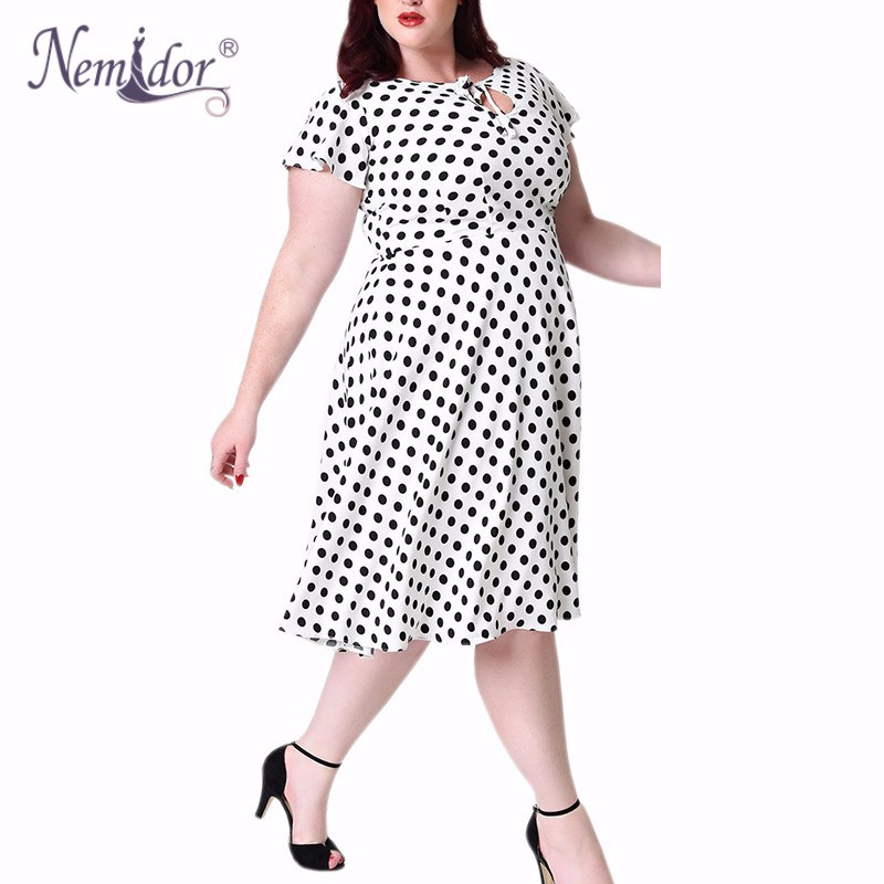 Unique_Vintage_Plus_Size_1940s_Style_White_Black_Dot_Formosa_Swing_Dress_1