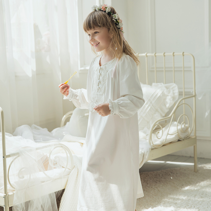 New Arrival Spring Autumn children Pure Contton Royal Gowns Baby Girl nightgown lovely princess sweet Homewear Vestidos T16802